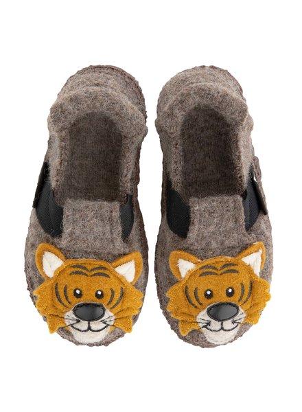 NANGA  wollen anti-slip sloffen barefoot kind TIGER - 100% biologische wol - bruin - 23 tm 32