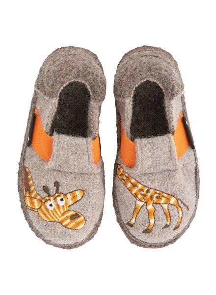 NANGA  wollen anti-slip sloffen barefoot kind GIRAF - 100% biologische wol - bruin - 23 tm 32