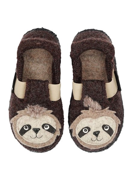 NANGA  wollen anti-slip sloffen barefoot kind SLOTH - 100% biologische wol - bruin - 23 tm 32
