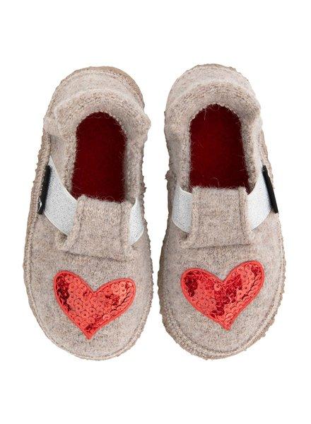 NANGA  wollen anti-slip sloffen barefoot kind HEART - 100% biologische wol - bruin - 24 tm 35