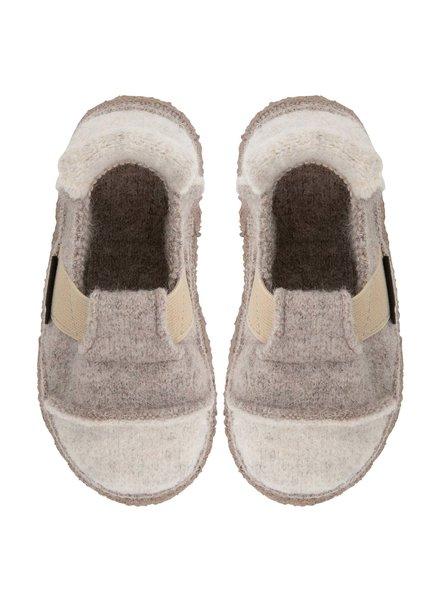 NANGA  woolen barefoot non slip slippers BERG child - 100% organic wool - beige - 25 to 34