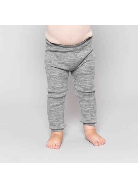 Minimalisma wollen legging ARONA - fijne rib - 100% merino - gemeleerd grijs - 0 tm 14 jaar