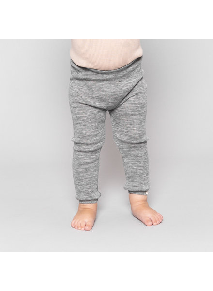 Minimalisma woolen leggings ARONA - fine rib - 100% merino - grey melange - 0 to 14 years