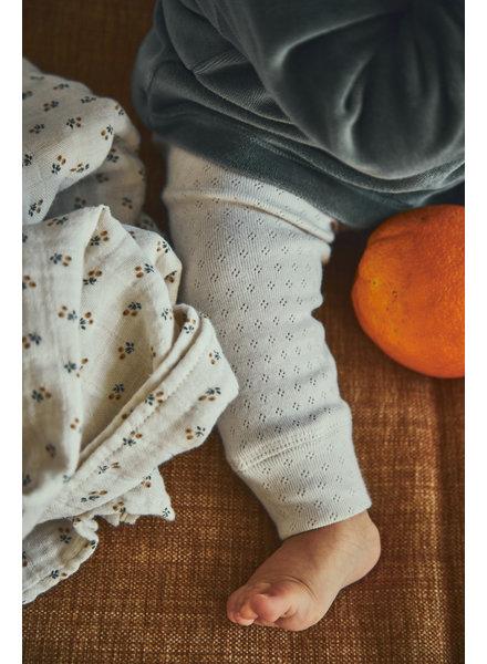Poudre Organic baby ajour legging BASILIC  - 100% biologisch katoen - wit - 1 tm 24 maanden