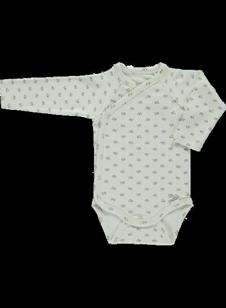Poudre Organic baby newborn overlsag romper LIERRE  - 100% biologisch katoen - tan print - newborn tm 3 maanden