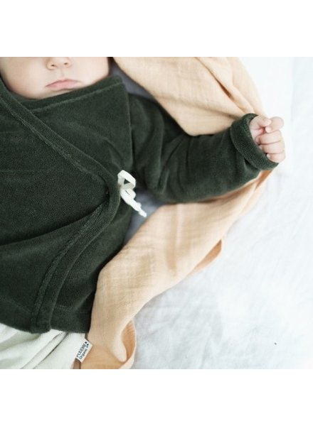 Poudre Organic baby wrap cardigan CROCUS - 100% organic terry eponge cotton - forest green - 1 to 24 months