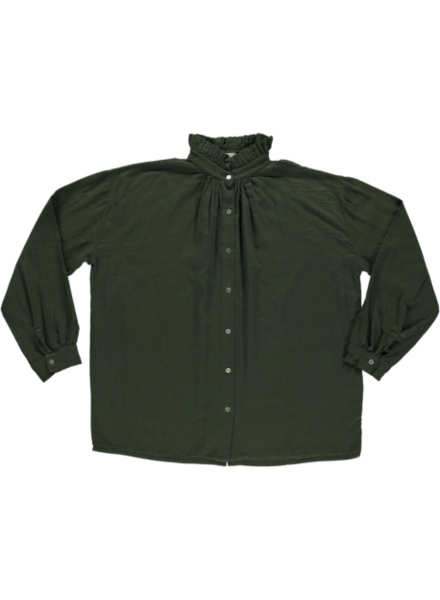 Poudre Organic ladies blouse long sleeve ROSIER - 100% organic gauze cotton - forest green