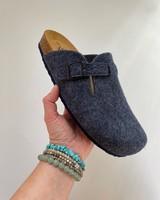 PLAKTON SANDALS woolen CLOGS slippers - 100% wool felt / cork sole - denim blue - 37 to 46