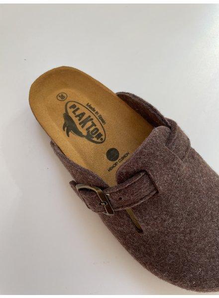 PLAKTON SANDALS woolen CLOGS slippers - 100% wool felt / cork sole - brown - 37 to 46