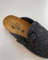 PLAKTON SANDALS woolen CLOGS slippers - 100% wool felt / cork sole - anthracite - 37 to 46
