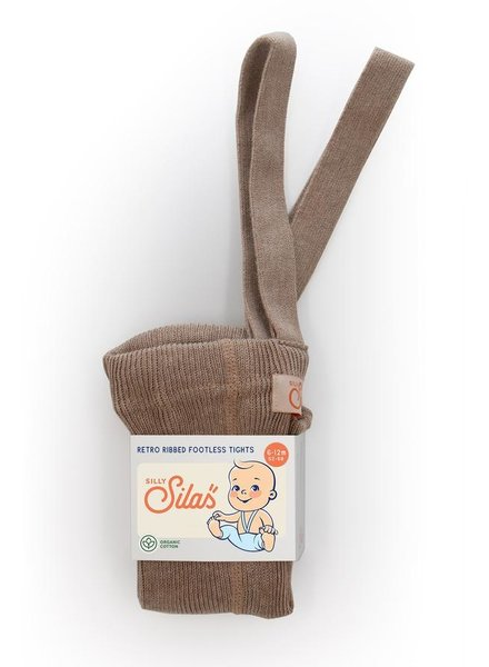 Silly Silas footless tights with suspenders - 100% organic cotton - cocoa blend - 6 m to 4 years