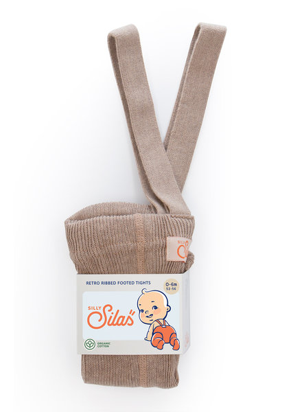 Silly Silas tights with braces - 100% cotton - peanut blend - 0 m to 3 years
