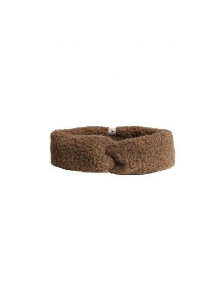 Alwero wollen haarband/ oorwarmer CONI - 100% merino teddy pile - bark bruin  - kids & mum