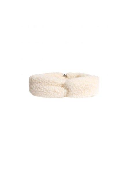 Alwero wollen haarband/ oorwarmer CONI - 100% merino teddy pile - naturel wit  - kids & mum