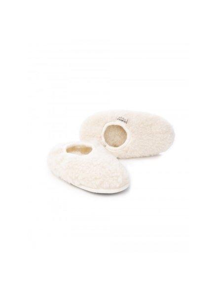 Alwero wollen anti-slip sloffen BALLERINA - 100% teddy wol - naturel wit - 21 tm 44