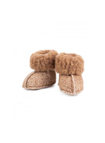Alwero wollen baby slofjes MELO anti-slip - 100% teddy wol (merino) - bruin