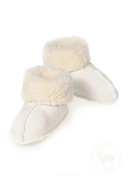 Alwero wollen baby slofjes MELO - 100% teddy wol (merino) - off white