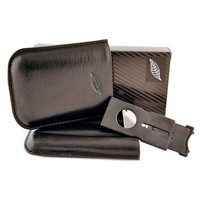 Leather cigar case Corona for three cigars incl. cutter
