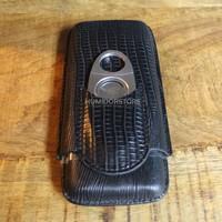 Triple Black Cigar Case incl. Guillotine Cutter