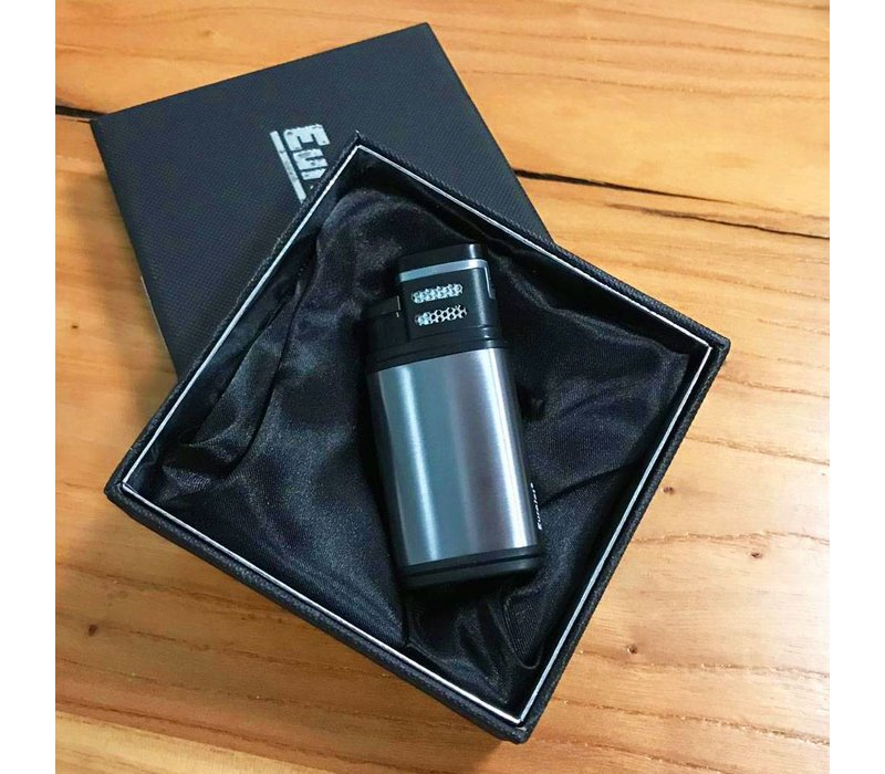 Double Jetflame Cigar Lighter Silver incl. Luxory box