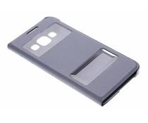 Graue Luxus Slim Booktype Hülle mit Sichtfenster Samsung Galaxy A3