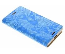Luxus Schlangen-Design TPU Booktype Hülle Blau für Sony Xperia X Compact