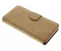 Wildleder-Look Booktype Hülle Braun für Huawei P10