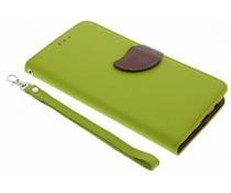 Blatt-Design TPU Booktype Hülle Grün für OnePlus 5
