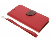 Blatt-Design TPU Booktype Hülle Rot für OnePlus 5