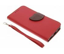 Blatt-Design TPU Booktype Hülle Rot für Huawei Y6 (2017)