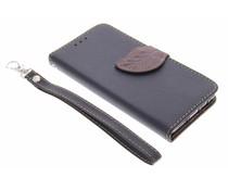 Blatt-Design TPU Booktype Hülle Schwarz Samsung Galaxy A3