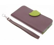 Blatt-Design TPU Booktype Hülle Braun für das Motorola Moto G 3rd Gen