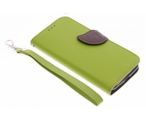 Blatt-Design TPU Booktype Hülle Grün für das Motorola Moto G 3rd Gen