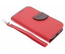Blatt-Design TPU Booktype Hülle Rot für das Samsung Galaxy S3 / Neo