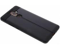 Schwarzes Leder Silikon-Case für Nokia 7 Plus