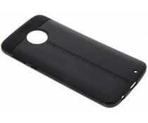 Schwarzer Leder Silikon-Case für Motorola Moto G6 Plus