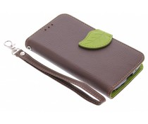 Blatt-Design TPU Booktype Hülle Braun für Motorola Moto G