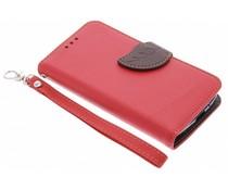 Blatt-Design TPU Booktype Hülle Rot für Motorola Moto G