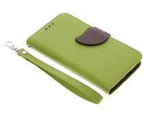 Blatt-Design TPU Booktype Hülle Grün für Motorola Moto G