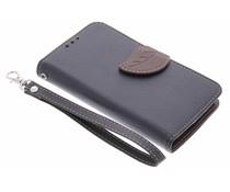 Blatt-Design TPU Booktype Hülle Schwarz für Nokia Lumia 630 / 635