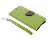 Blatt-Design TPU Booktype Hülle Grün für OnePlus One