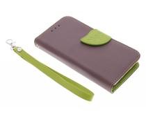 Blatt-Design TPU Booktype Hülle Braun für Samsung Galaxy Core 2
