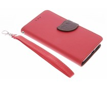 Blatt-Design TPU Booktype Hülle Rot für Microsoft Lumia 650