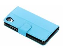 Luxus Leder Booktype Hülle Blau für Wiko Sunny 2