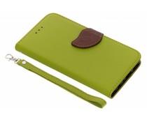 Blatt-Design TPU Booktype Hülle Grün für das Huawei P Smart