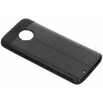 Leder Silikon-Case Schwarz für Motorola Moto G6