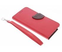 Blatt-Design TPU Booktype Hülle Rot Samsung Galaxy Note 5