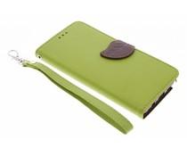 Blatt-Design TPU Booktype Hülle Grün Samsung Galaxy Note 5