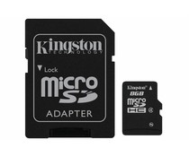Kingston 8GB microSDHC Speicherkarte Klasse 4 + Adapter