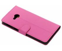 Luxus Leder Booktype Hülle Rosa für HTC U Play